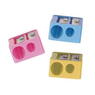 Mor 03320090 - Sacapuntas de plástico, con 2 orificios, colores surtidos