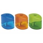 Sacapuntas Mor metálico pequeño 1 uso con deposito colores surtidos