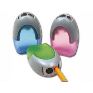 Q-Connect KF00593 - Sacapuntas metálico, con depósito, con dos orificios, colores surtidos