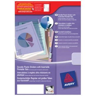 Avery 5614501 Separador de plástico, A4, 12 pestañas personalizables, multicolor