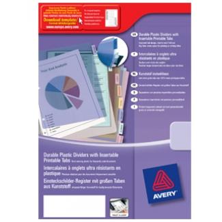 Avery 5624501 Separador de plástico, A4+, 12 pestañas personalizables, multicolor