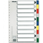 Separador Esselte plástico juego de 10 separadores tamaño A4 con 5 colores multitaladro