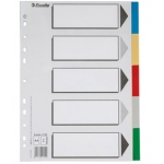 Separador Esselte plástico juego de 5 separadores tamaño A4 con 5 colores multitaladro