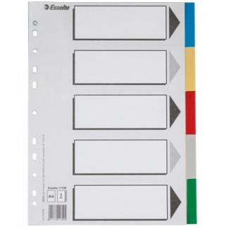 Esselte 11709 - Separador de plástico, A4, 5 pestañas, multicolor