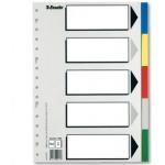 Separador Esselte plástico juego de 5 separadores tamaño folio con 5 colores multitaladro