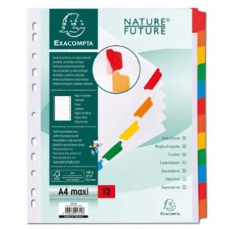 Exacompta 4312E - Separador de cartulina, A4+ Maxi, 12 pestañas, color blanco con pestañas de colores