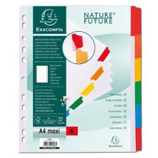 Exacompta 4306E - Separador de cartulina, A4+ Maxi, 6 pestañas, color blanco con pestañas de colores