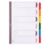 Separador Exacompta cartulina juego de 6 separadores tamaño A4 multitaladro color blanco multitalador