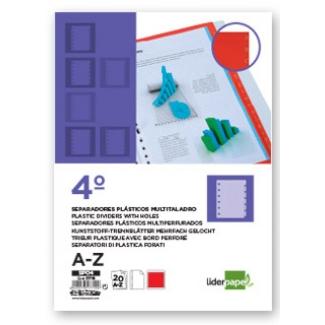 Liderpapel SP04 - Separador de plástico, cuarto, alfabético A-Z, color rojo