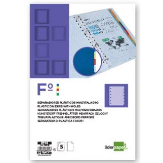 Liderpapel SP02 - Separador de plástico, folio, 5 pestañas, multicolor