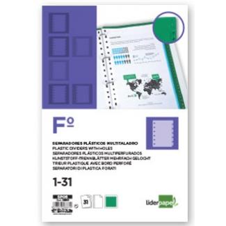 Pregunta sobre Liderpapel SP06 - Separador de plástico, folio, numérico 1-31-Z, color verde