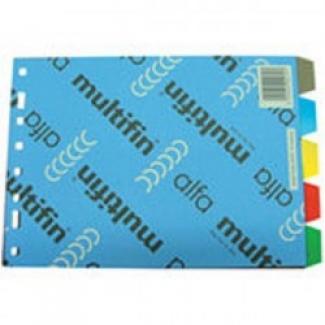 Multifin 4315300 - Separador de plástico, cuarto apaisado, 5 pestañas, multicolor