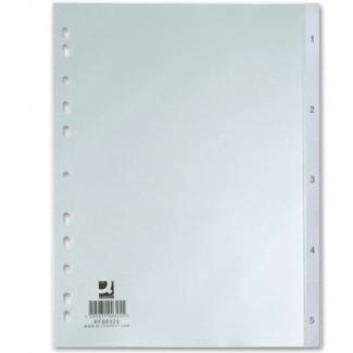 Q-Connect KF00327 - Separador de plástico, A5, numérico 1-5, color gris