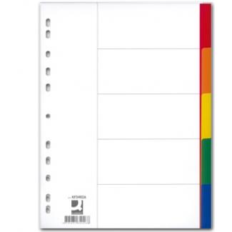 Q-Connect KF34026 - Separador de plástico, A4, 5 pestañas, multicolor