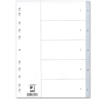 Q-Connect KF34021 - Separador de plástico, A4, numérico 1-5, color gris