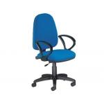 Silla Rocada con brazos color azul diámetro de base 610 mm respaldo de 490 mm x 420 mm