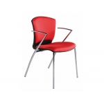 Silla Rocada confidente estructura cromada con brazos.tela ignífuga color rojo altura 82 cm base 52x56 cm