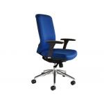 Silla Rocada sistema sir con brazos elevación a gas estructura aluminio tela ignífuga color azul respaldo 600 mm