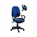 Silla giratoria Q-Connect base nylon color negro regulable en altura mm alto azul 475 mm largo 490 mm profundidad