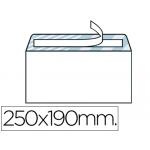 Sobre Liderpapel Nº 13 color blanco tamaño cuarto prolongado 190x250 mm tira de silicona caja de 250 unidades