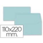 Sobre Liderpapel americano color azul celeste 110x220 mm 80 gr pack de 9 unidades