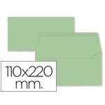 Liderpapel SB67 - Sobre Americano, tamaño 110 x 220 mm, solapa engomada, color verde, paquete de 9 unidades