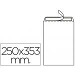 Sobre Liderpapel bolsa Nº 10 blanco tamaño folio prolongado 250x353 mm tira de silicona caja de 250 unidades