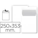 Liderpapel SB91 - Bolsa Folio prolongado, tamaño 250 x 353 mm, solapa tira de silicona, color blanco, paquete de 25 unidades