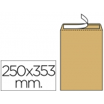 Sobre Liderpapel bolsa Nº 11 kraft tamaño folio prolongado 250x353 mm tira de silicona caja de 250 unidades