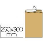 Sobre Liderpapel bolsa Nº 12 kraft tamaño folio especial 260x360 mm tira de silicona caja de 250 unidades