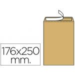 Liderpapel SB57 - Bolsa B5, tamaño 176 x 250 mm, solapa tira de silicona, color kraft, caja de 500 unidades