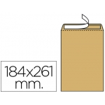 Sobre Liderpapel bolsa Nº 6 kraft tamaño cuarto prolongado 184x261 mm tira de silicona caja de 250 unidades