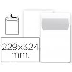Liderpapel SB93 - Bolsa C4, tamaño 229 x 324 mm, solapa tira de silicona, color blanco, paquete de 25 unidades