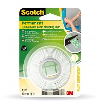 Scotch 70005091288 (331915-B12) - Cinta adhesiva doble cara, 19 mm x 1,5 mt, blanco