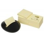Soporte bloc de notas adhesivas Post-it diseño piedra negra con 12 bloc de notas color amarillo 76x76 mm