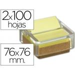 Soporte bloc de notas adhesivas Post-it fabricado envidrio y corcho con bloc de notas reciclado color amarillo