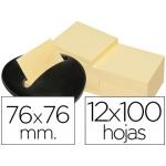 Soporte bloc de notas adhesivas Post-it piedra negracon 12 bloc de notas color amarillo 76x76 mm