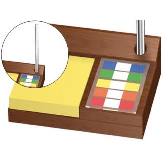 Soporte de madera para bloc de notas adhesivas banderitas separadoras y bolígrafo