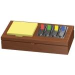 Soporte de madera para bloc de notas adhesivas y banderitas separadoras