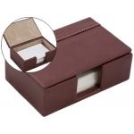 Soporte para tarjetas de visitas fabricado en madera y forrado en polipiel