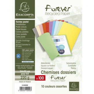 Exacompta Forever 410000E- Paquete de 100 Subcarpetas de cartulina reciclada, A4, 220 gr/m2 colores surtidos