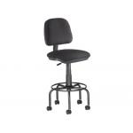 Taburete con respaldo Rocada para mesa de dibujo color negro regulable en altura hasta 725 mm tela ignífuga