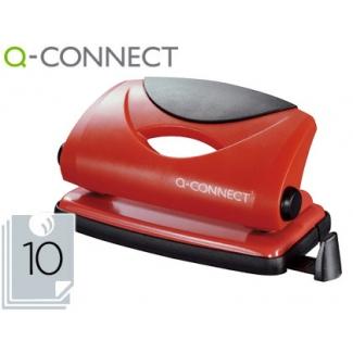 Q-Connect KF02154 - Taladrador metálico, perfora hasta 10 hojas, color rojo