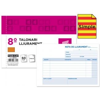 Liderpapel T128-CAT - Talonario lliurament (entrega), tamaño 8º apaisado, 100 hojas, simple, texto en catalán
