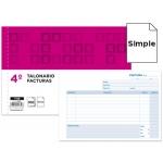 Talonario Liderpapel facturas tamaño cuarto original t118 apaisado con i.v.a
