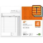 Talonario Liderpapel facturas tamaño cuarto original y 2 copias t316 con i.v.a texto en catalan