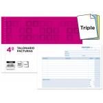 Talonario Liderpapel facturas tamaño cuarto original y 2 copias t318 apaisado con i.v.a