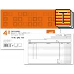 Talonario Liderpapel facturas tamaño cuarto original y 2 copias t318 apaisado con i.v.a texto en catalan