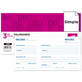 Liderpapel T105 - Talonario recibos, tamaño 1/3 de folio, 100 hojas, simple