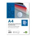 Tapa encuadernación Liderpapel polipropileno tamaño A4 0.8 mm transparente paquete de 50 tapas